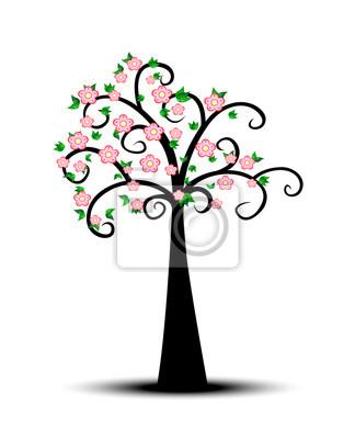 Decorativo árbol de primavera con hojas verdes y flores de color ...