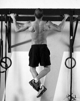 Cuadro Dedos de los pies a Crossfit bar hombre pull-ups 2 barras de entrenamiento