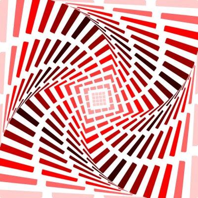 Cuadro Del giro de fondo rojo la ilusión de movimiento. Tira abstracta de