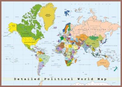 Cuadro Detallado mapa del mundo político