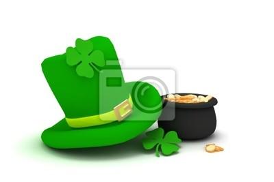 Cuadro Día de San Patricio sombrero de duende con un trébol de cuatro hojas 8ea5d7b79c46
