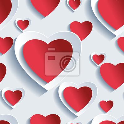 Día De San Valentín Sin Patrón Corazones 3d Pinturas Para La Pared