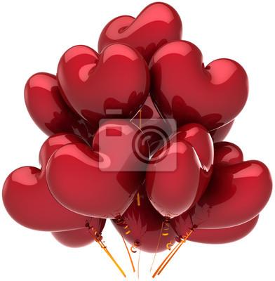 Día festivo, corazón Globos cumpleaños en forma de decoración de color rojo
