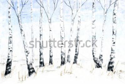Cuadro Dibujado a mano acuarela paisaje de invierno. Bosque ilustración, árboles de invierno. abedul
