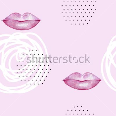 Cuadro Dibujado a mano acuarela rosa labios. Patrón abstracto sin problemas