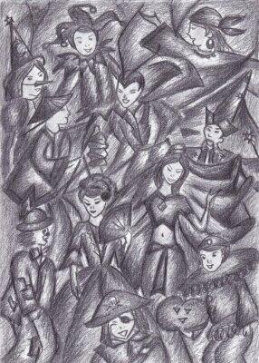 Cuadro Dibujado a mano baile de disfraces