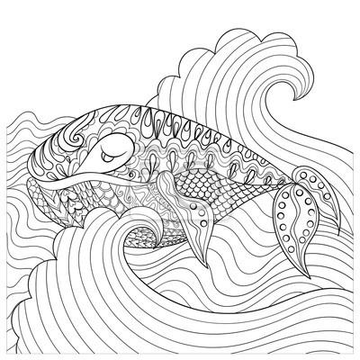 Dibujado A Mano De Ballenas En Las Olas Para Antistrés Página