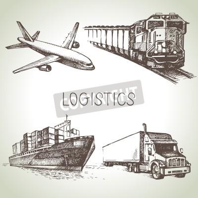 Cuadro Dibujado a mano logística y entrega conjunto de iconos de boceto. Ilustración vectorial