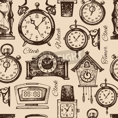 Dibujado a mano relojes y relojes. vintage mano dibujada patrón ...