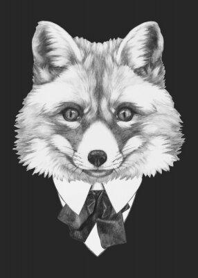 Cuadro Dibujado a mano retrato de Fox con gafas. Vector aislados elementos.