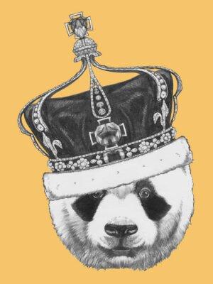 Cuadro Dibujado a mano retrato de la panda con la corona. Vector
