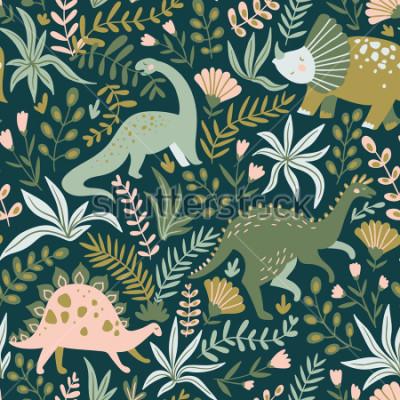 Cuadro Dibujado a mano sin patrón, con dinosaurios y flores y hojas tropicales. Perfecto para tela infantil, textil, papel tapiz vivero. Lindo diseño de dinosaurio. Ilustracion vectorial