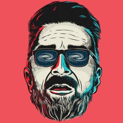 Cuadro Dibujado a mano vector cara de un hombre de moda con gafas.