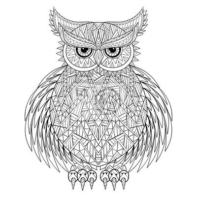 Dibujado a mano zentangle búho, tótem de pájaro para adultos ...
