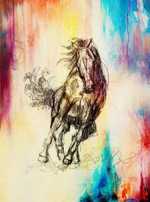Cuadro Dibuje el caballo del lápiz en el papel viejo, el papel de la vendimia y la estructura vieja con los puntos del color.