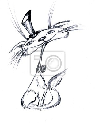 Dibujo A Lápiz Del Gato En El Sombrero Pinturas Para La Pared