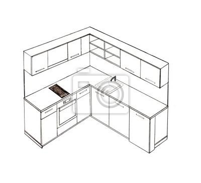 Cuadro Dibujo A Mano Alzada Cocina De Diseño Interior Moderno.