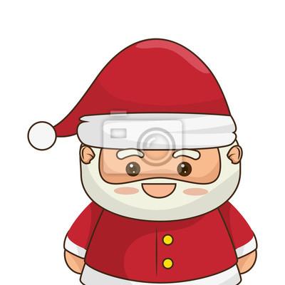 Imagenes De Papa Noel Animado.Cuadro Dibujo Animado Sonriente Feliz Del Kawaii De Papa Noel Con El