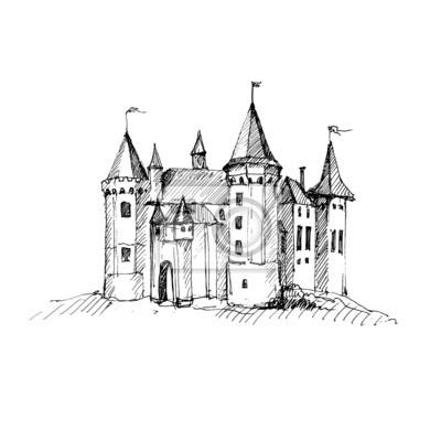 Dibujo castillo medieval. pinturas para la pared • cuadros dibujo ...