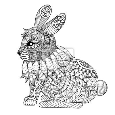 Dibujo conejo zentangle para colorear la página, efecto de diseño ...