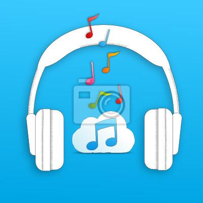 Dibujo De Auriculares 2 Nubes Notas Musicales Azul Bkgnd