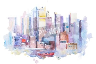 Cuadro Dibujo de la acuarela del paisaje urbano de Nueva York, los EEUU. Pintura de la acuarela de Manhattan.