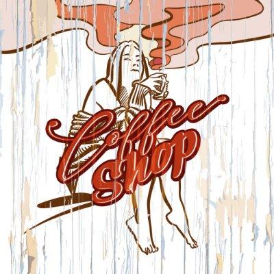 Cuadro Dibujo de la muchacha de la cafetería en fondo de madera