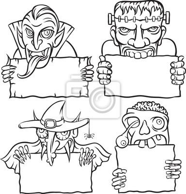 Dibujo de la pizarra - monstruos y vampiros de halloween pinturas ...