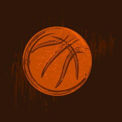 Cuadro Dibujo de símbolo de baloncesto con trazos negros de fondo oscuro