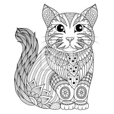 Dibujo gato zentangle para colorear la página, efecto de diseño ...