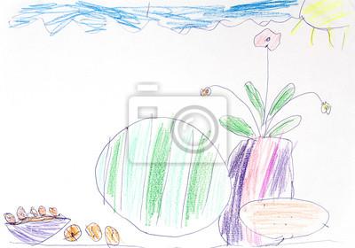 Dibujo Infantil De Frutas Y Flores Pinturas Para La Pared
