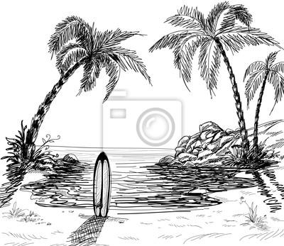 Dibujo Paisaje Marino Con Palmeras Y Tablas De Surf Pinturas Para La