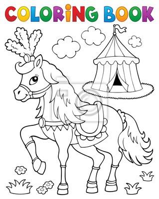 Dibujo para colorear caballo cerca de circo tema 2 pinturas para la ...