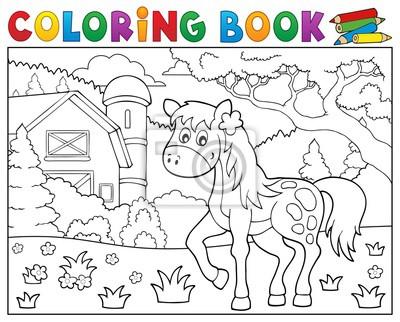 Dibujo para colorear caballo cerca de la granja tema 1 pinturas para ...