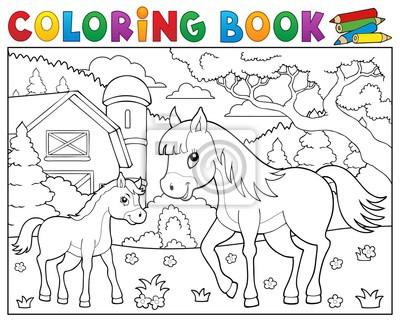 Dibujo para colorear caballo con potro tema 2 pinturas para la pared ...