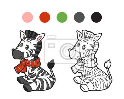 Cuadro Dibujo Para Colorear Cebra De Invierno De Navidad Juego Para
