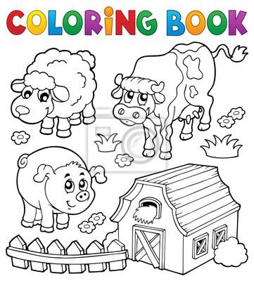 Dibujo para colorear con animales de granja 6 pinturas para la pared ...