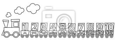 Dibujo Para Colorear Con El Tren De Matemáticas Y Números 1