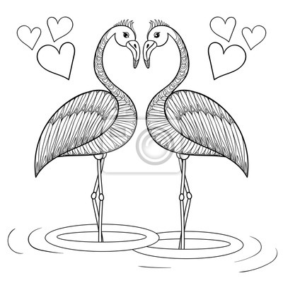 Dibujo para colorear con pájaros flamencos enamorados, zentangle ...