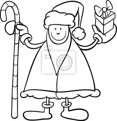 Dibujo Para Colorear De Dibujos Animados De Santa Claus Pinturas