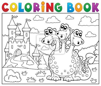 Dibujo para colorear dragón cerca de castillo tema 3 pinturas para ...