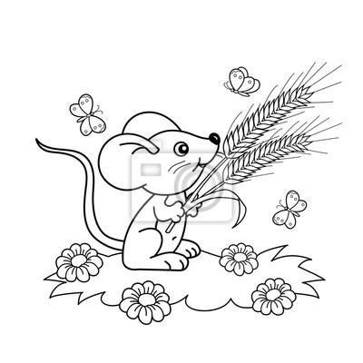 Cuadro Dibujo Para Colorear Esquema De Dibujos Animados Poco Ratón Con