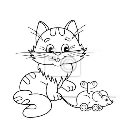Dibujo para colorear esquema de gato de dibujos animados con ...