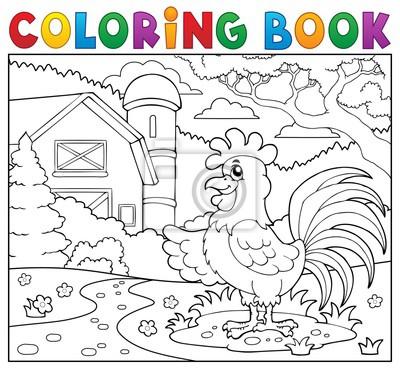 Dibujo para colorear gallo cerca de la granja pinturas para la pared ...