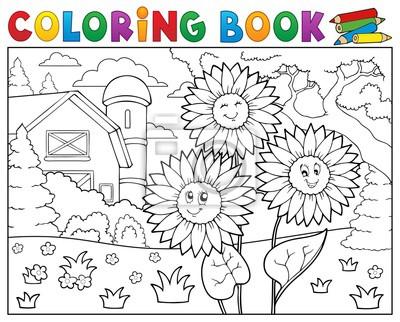Dibujo para colorear girasoles cerca de granja pinturas para la ...