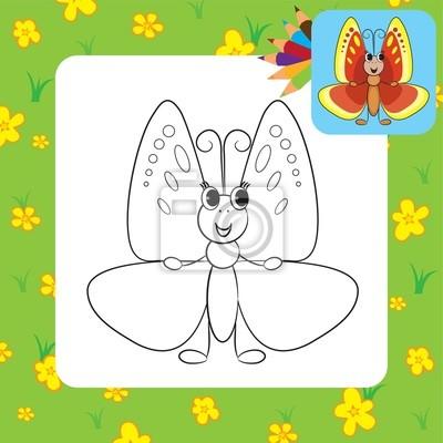 Dibujo para colorear. lindo ejemplo de dibujos animados butterfly ...
