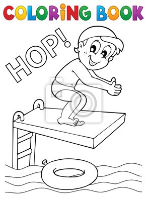 Cuadro Dibujo Para Colorear Niño Saltando En El Agua