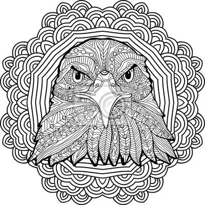 Dibujo Para Colorear Para Adultos águila Severa En Un Fondo