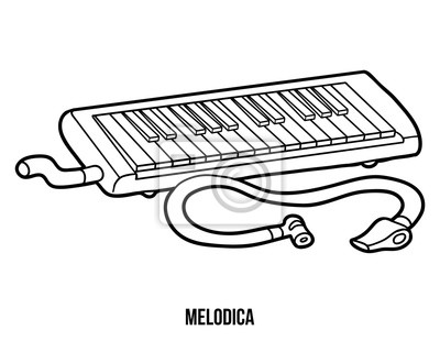Dibujo para colorear para niños: instrumentos musicales (melodica ...