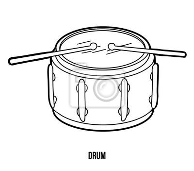 Dibujo para colorear para niños: instrumentos musicales (tambor